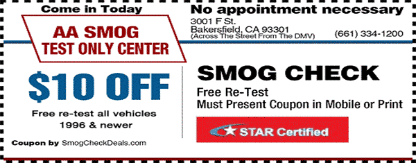 $10 Smog Check Coupons - STAR Station - Bakersfield